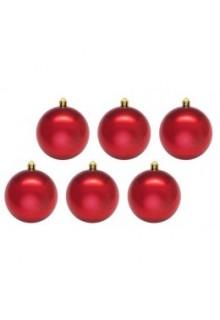 Шары новогодние красные 10 см (6 шт в упаковке)