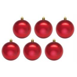 Шары новогодние красные 10 см (6 шт в пачке)