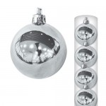 Шары новогодние серебристые 12 см (6 шт в пачке)