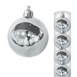 Шары новогодние серебристые 10 см (6 шт в упаковке)