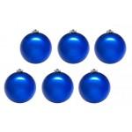 Шары новогодние синие 10 см (6 шт в пачке)