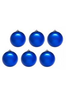 Шары новогодние синие 8 см (6 шт в упаковке)