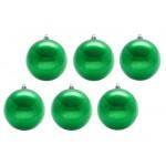 Шары новогодние зеленые 8 см (6 шт в упаковке)